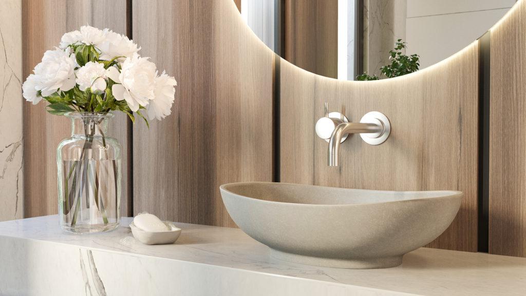 szara umywalka o organicznych kształtach, wygodna w użytkowaniu, łatwa w utrzymaniu czystości
