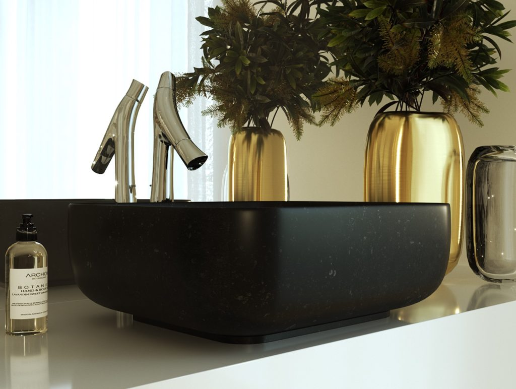 umywalka o organicznym kształcie, umywalka z czarnego granitu, umywalka z kamienia