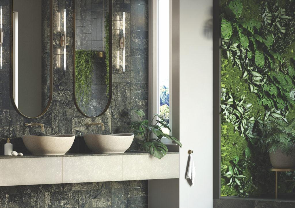 szare umywalki nablatowe s trefie dla dwojga, w otoczeniu roślin i na kamiennym blacie