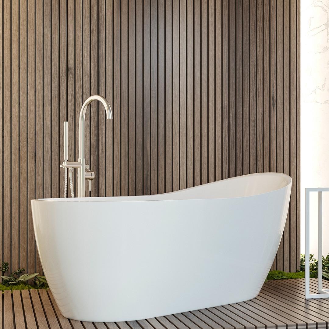 biała ergonomiczna wanna akrylowa, wanna do komfortowej kąpieli