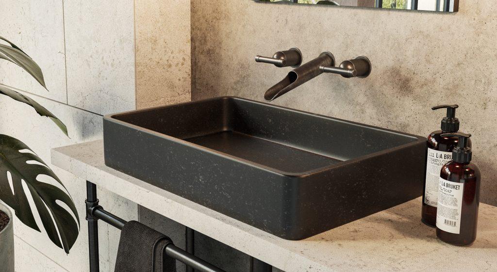 czarna umywalka granitowa, nablatowa umywalka z czarnego kamienia naturalnego