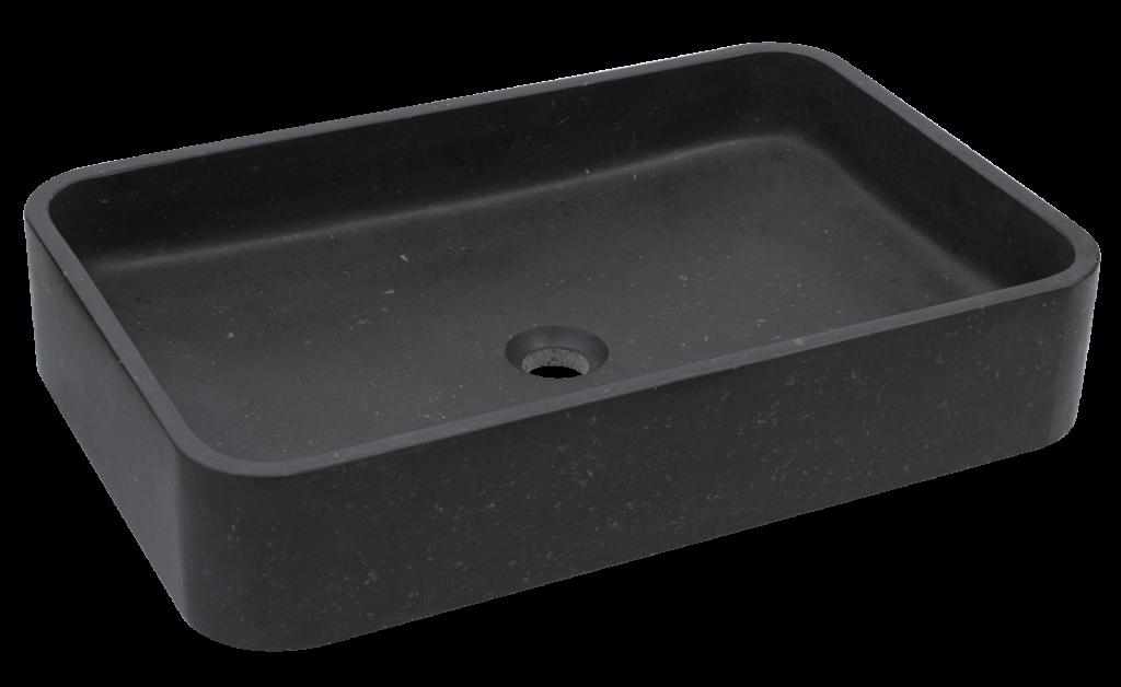 czarna umywalka nablatowa z granitu, elegancka umywalka kamienna, umywalka na blat, umywalka w organicznym kształcie