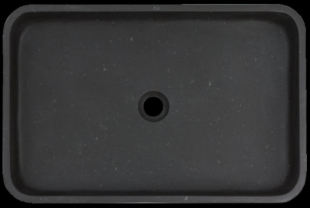 prostokątna umywalka o organicznym kształcie, umywalka z czarnego granitu, umywalka z kamienia