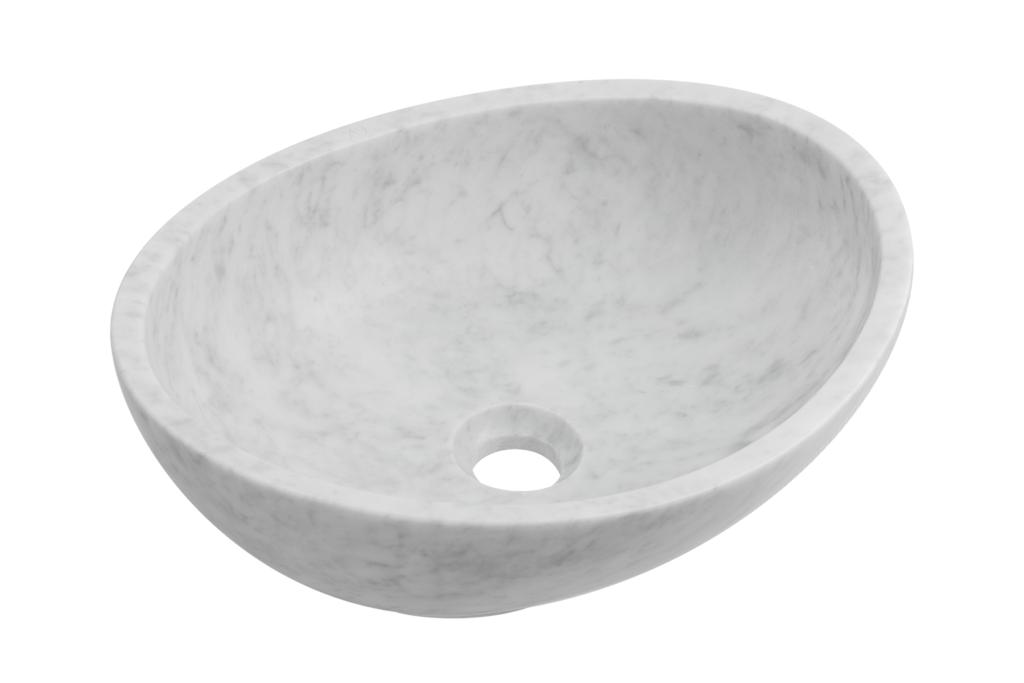 biała umywalka z marmuru, nablatowa umywalka nowoczesna z kamienia naturalnego