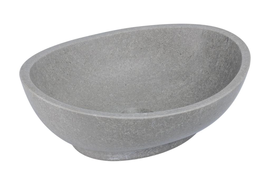 umywalka z kamienia naturalnego, umywalka na cokole, szara kamienna umywalka