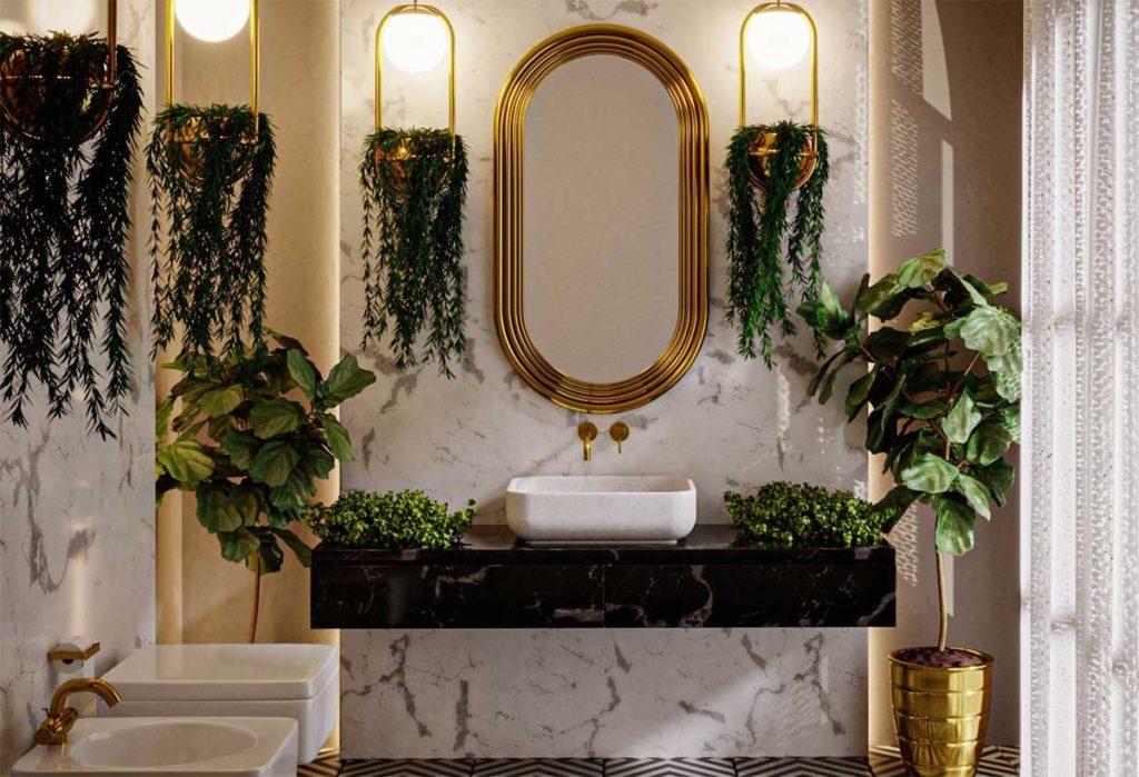 łazienka s tylu big gatsby, łazienka z kamienna umywalką, łazienka z marmurem
