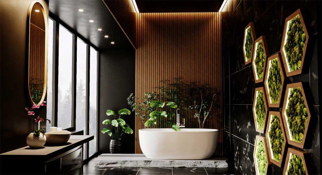 symetryczna wanna wolnostojąca z białego akrylu w nowoczesnej łazience