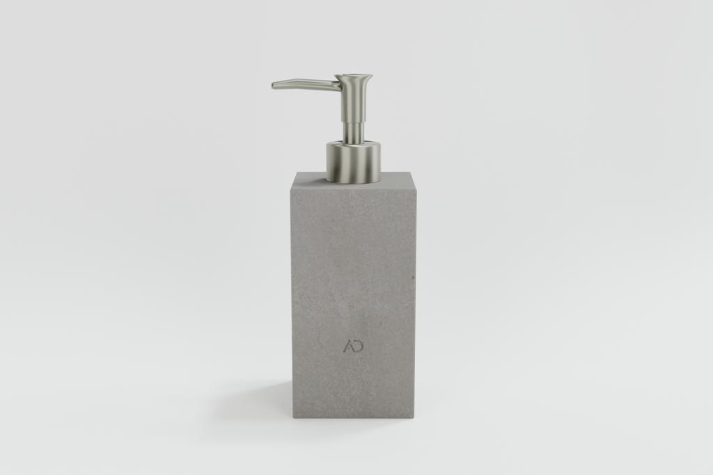 kwadratowy szary dozownik do mydła z kamienia naturalnego, dozownik do mydła z marmuru