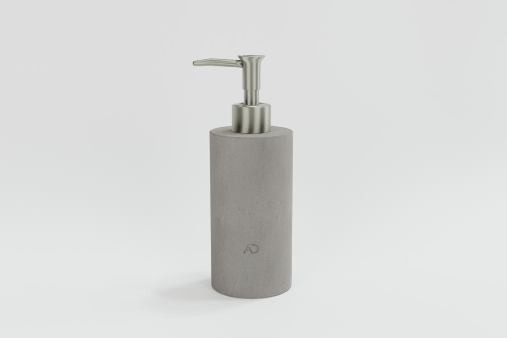 okrągły szary dozownik do mydła z kamienia naturalnego, dozownik do mydła z marmuru
