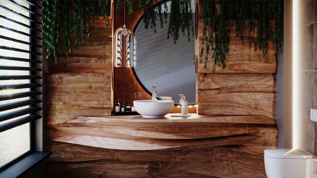 drewniana strefa umywalki, umywalka z akcesoriami z białego marmuru