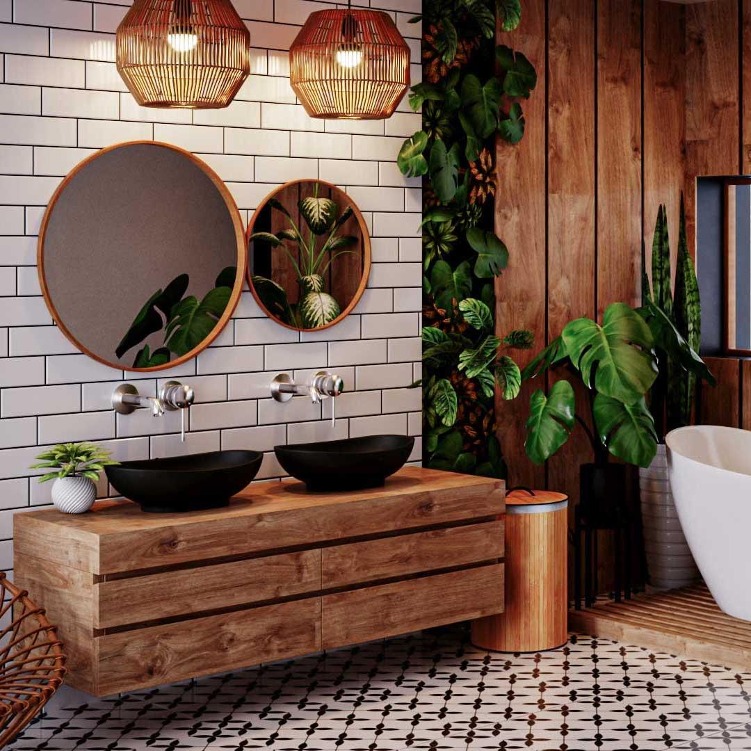 biofilia, styl biofiliczny w łazience, umiłowanie natury, rośliny w łazience, aranżacja łazienki z roślinami