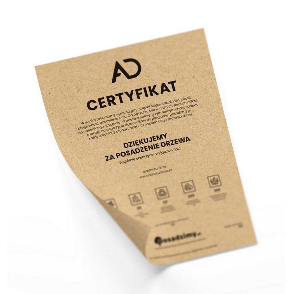 certyfikat z papieru ekologicznego, certyfikat sadzenia drzew