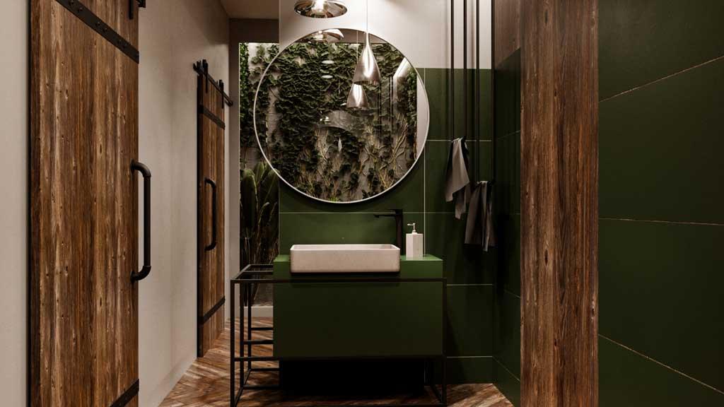 nowoczesna zielona łazienka z kamienna umywalką w kształcie prostokąta