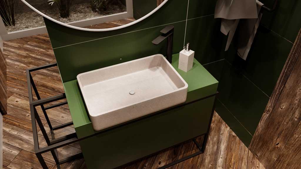 umywalka z białego marmuru, elegancka nablatowa umywalka z kamienia naturalnego, nowoczesne wyposażenie łazienki