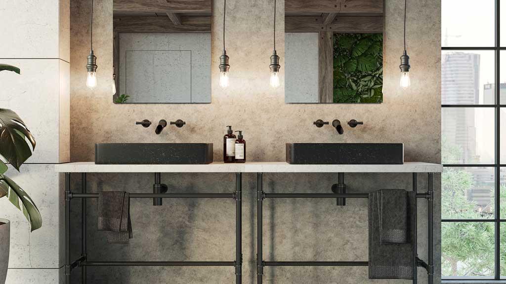 czarne prostokątne umywalki z granitu, kamienne umywalki nablatowej w industrialnej łazience