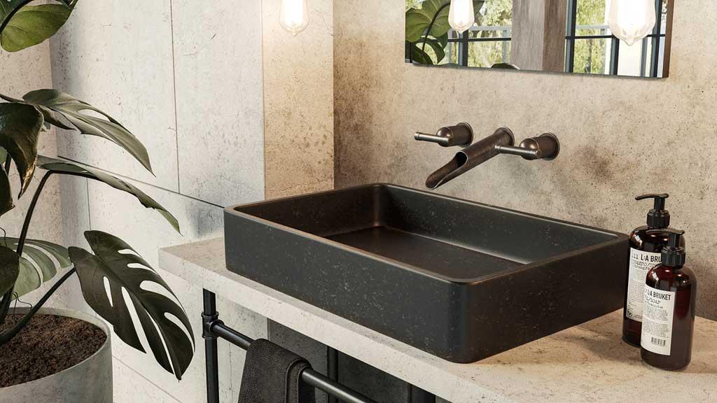 prostokątna umywalka z granitu, czarna umywalka do nowoczesnej łazienki
