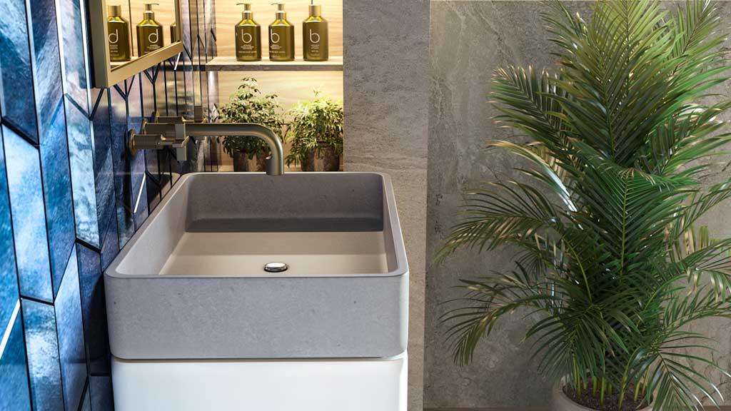 szara umywalka nablatowa na planie prostokąta, wygodna w użytkowaniu, łatwa w utrzymaniu czystości