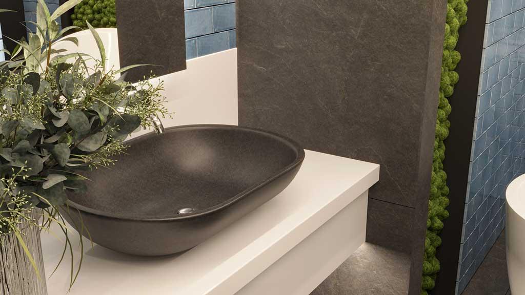czarna umywalka z kamienia, ergonomiczna umywalka łatwa w utrzymaniu czystości