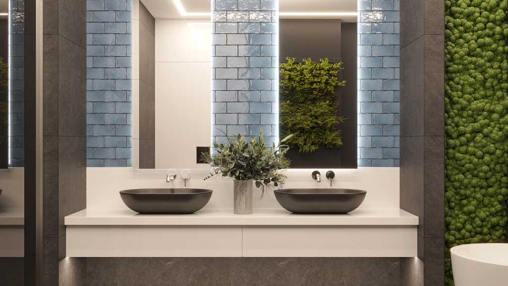 strefa z dwiema umywalkami z czarnego granitu, umywalki nablatowe, łazienka z chrobotkiem reniferowym, niebieskie kafelki w łazience