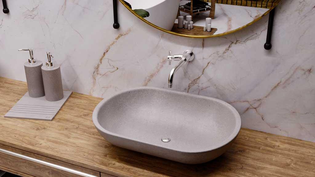 strefa umywalki z dozownikami z kamienia, umywalka z szarego kamienia, taca z kamienia