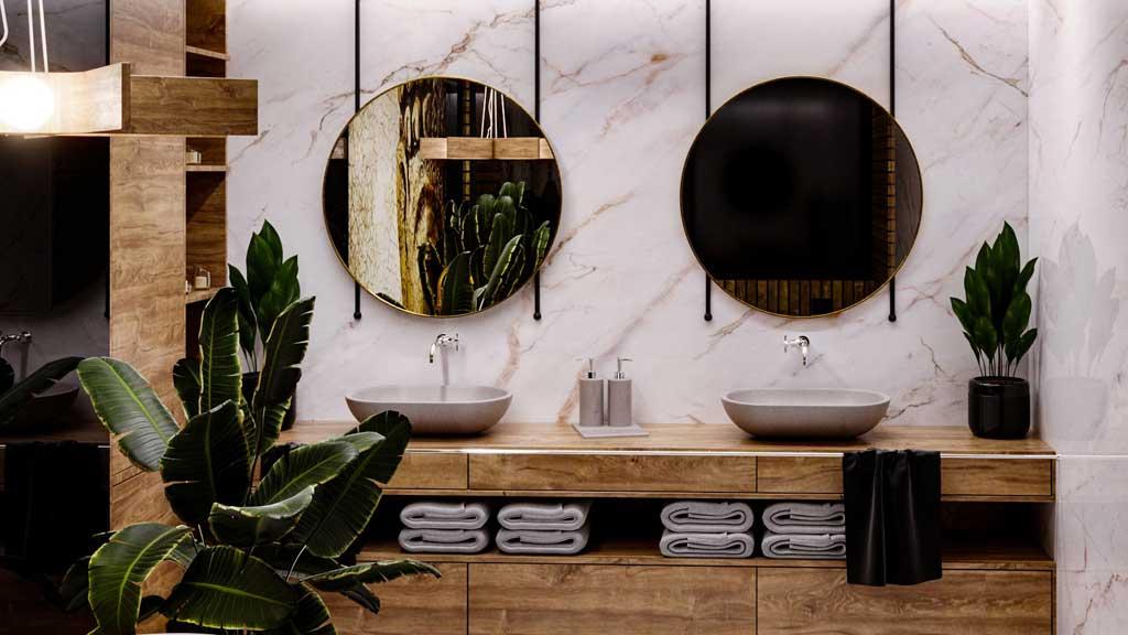 aranżacja strefy umywalki dla dwóch osób, umywalki marmurowe, elegancka nowoczesna łazienka z kwiatami doniczkowymi