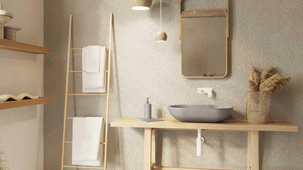 beżowa łazienka z naturalnymi elementami, kamienna umywalka z szarego marmuru