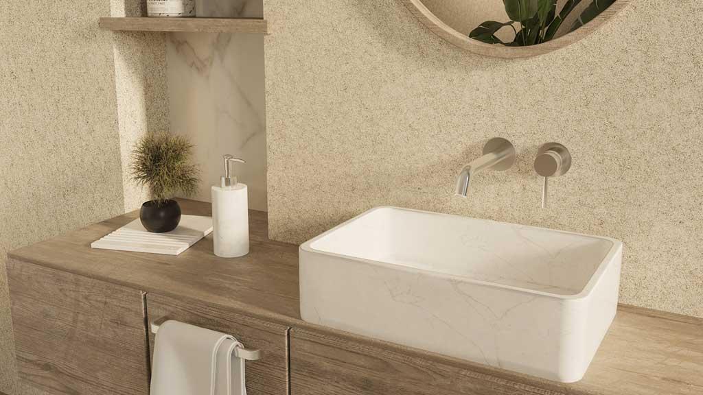 akcesoria łazienkowe z kamienia, umywalka z białego marmuru