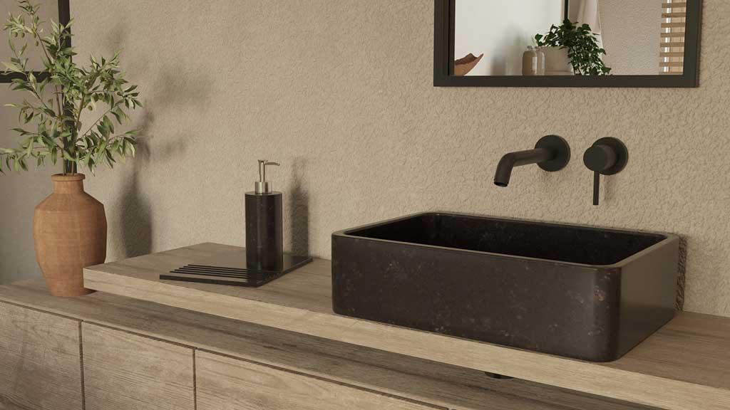 czarne akcesoria łazienkowe z granitu, granitowa umywalka