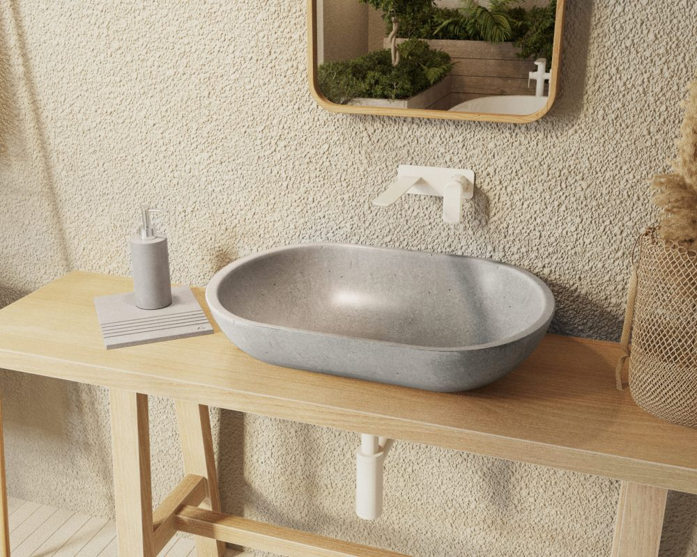 szara umywalka z kamienia naturalnego, marmurowa ergonomiczna umywalka